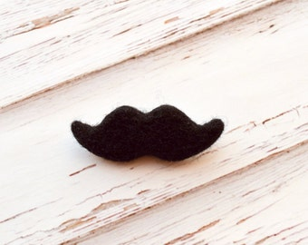 Needle Felted Mustache Brooch, Needlefelted brooch, Poirot style, Mustache pin