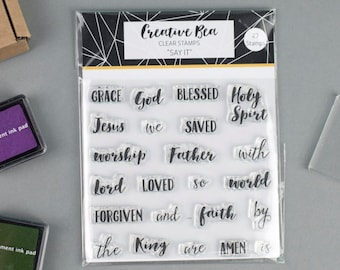 Bible Journaling Stamps | Say It - Clear Christian Stamps | Bible Art Journaling Supplies