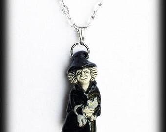 Collar de bruja, bruja cerámica con gato, gótico colgante pagana Wicca