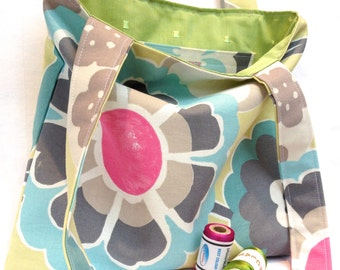 Lined tote bag, pretty green, blue and pink