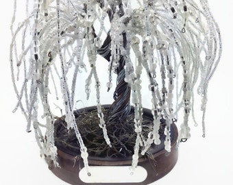 White Willow Tree of Life-Family Tree-Personalized-Hand Stamped-Beaded Tree-Wire Bead Tree-Wire Sculpture-Gift Idea-Handmade-One of a Kind