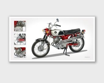 "Vintage Motorcycle Art Print - Poster #8 - Bob Logue Bikes Collection - 25""x13"""