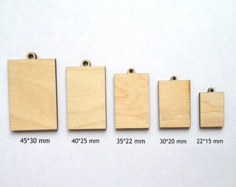 Wood pendant etsy unfinished laser cut rectangle wood pendants jewelry blanks wood jewelry wood charms mozeypictures Images