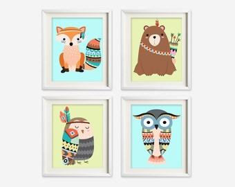Tribal Animals Wall Art   Tribal Nursery Art   Kids Wall Art   Nursery  Decor   Part 56