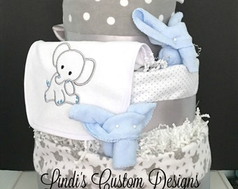 Elephant Blue and Grey Diaper Cake with Receiving Blankets, Embroidered Bib, Baby Socks, Baby Washcloths, Deluxe Baby Shower Gift, Elephant
