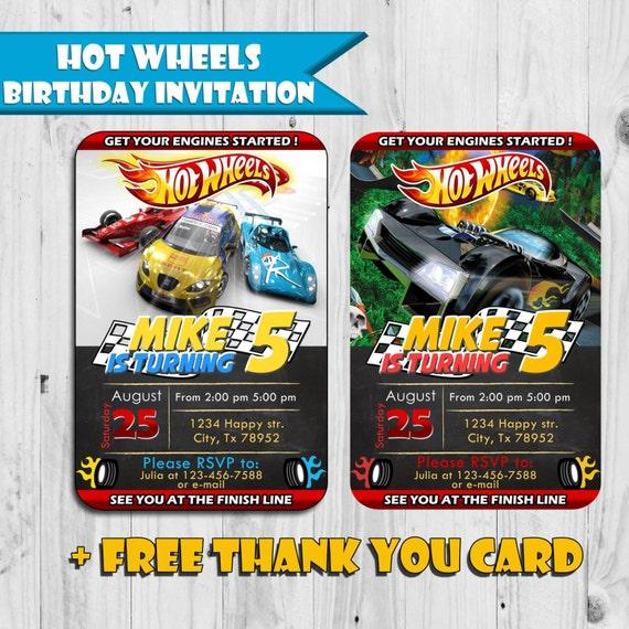 Hot Wheels Inspired Birthday Invitation Free Thank By