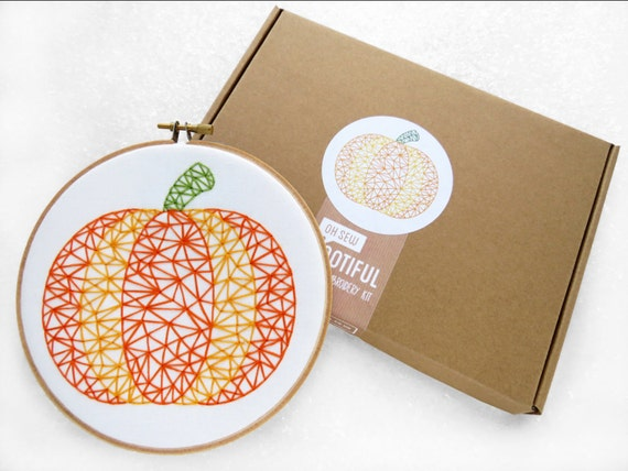 Items Similar To Thanks Giving Embroidery Kit Pumpkin Hoop Art DIY Thanks Giving Gift ...