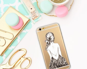 Girl case, Transparent iPhone 5/5S/SE/6/6S cases, iPhone 5/5S/SE/6/6S, Aquarell case
