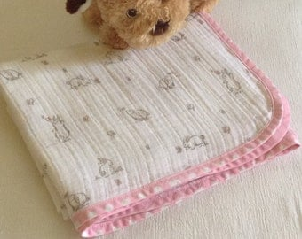 Baby Blanket Handmade, White Blanket with Pink Bunnies Baby Blanket, Gauze Swaddling Blanket, Baby Gift Baby Shower, Swaddle Blanket