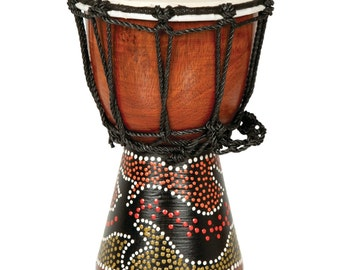 Handpainted African Traditional Musical Drum Djembe with Painted Design
