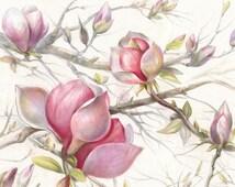 Floral Landscape. Floral Decor. Floral Drawing. Magnolia Drawing. Watercolor Pencil. Original Decor. Wall Decor