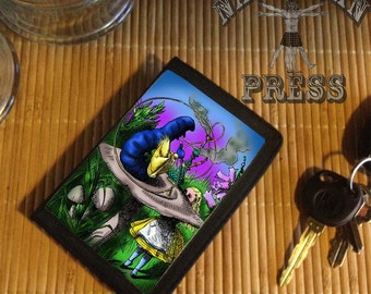 Alice and the Caterpillar, Black TriFold Wallet