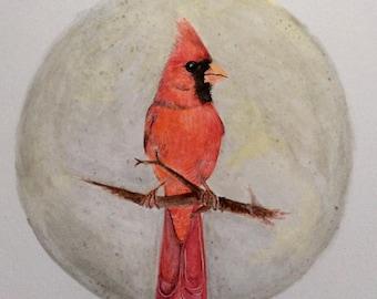 Original Northern Cardinal Watercolour Painting.