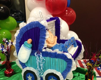 Baby Shower boy. baby carriage pinata. Parties decorations and supplies