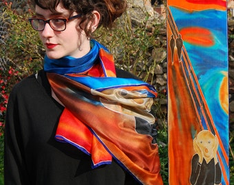 Interpretation of hand-painted silk scarf: the scream by Edvard Munch