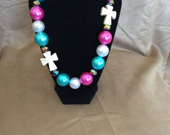 Large beaded necklace with crosses