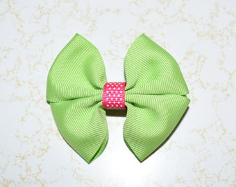 Lime green and pink swiss dot girls hair bow
