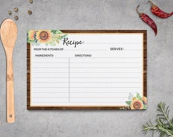 Rustic Recipe Cards, Bridal Shower Sunflowers, Rustic Bridal Shower, Bridal Activities, Wood Sunflower, Printable Recipe Card 5x7 4x6
