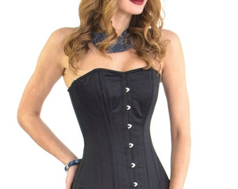 Corset Long Line Waist Training Tightlacing Black Overbust  Size XXXS-6XL