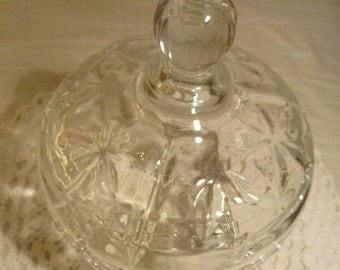 Vintage Footed  Clear Glass Candy  Holdeer