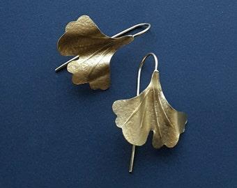 Ginkgo Biloba Earrings, Nature Earrings, Gold Earrings, Leaf Earrings,Ginkgo Biloba Leaf,Gift for her, Gold  Jewelry,Ginkgo Biloba Jewelry,