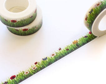 Picnic on the Grass Washi Tape 15mm/ Spring Summer Washi Tape/ Masking Tape. Spring Summer Washi Tape