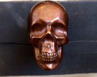 """Skull Von Bronze Chamber Knob In """"Chocolate"""" Bronze"""