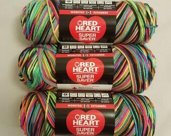 Red Heart Super Saver Yarn BLACKLIGHT Lot of 3 Skeins 5 oz Medium 4