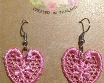 Handmade Pink Lace earrings with pink stone dangle,lace Heart earrings,  in Vintage Handmade style