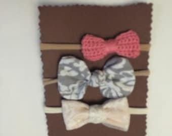 Set of 3 Handmade bows , knot bow, regular bow and crochet bow on nylon headbands
