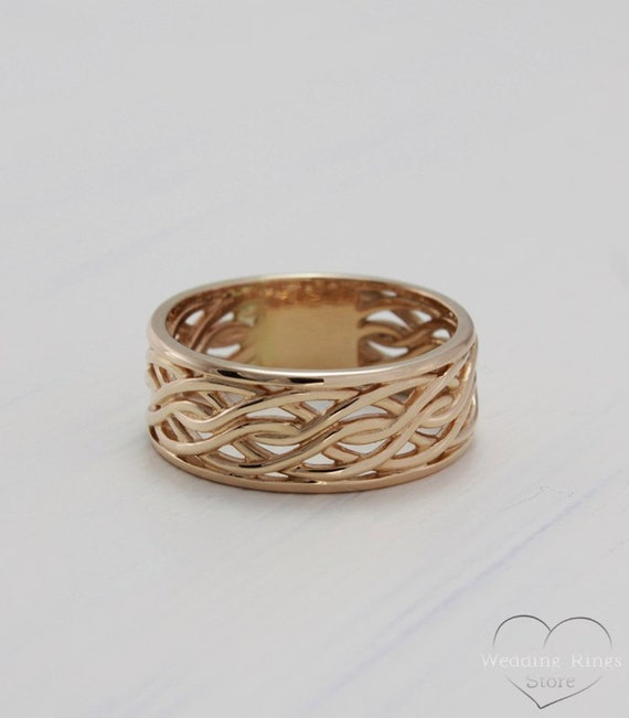 14k Rose solid gold braided wedding band Rustic wedding ring