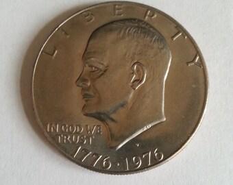 """Bicentennial, Eisenhower, Silver Dollar, Coin, 1776 - 1976- D, Liberty Bell Reverse, """"D"""" Mintmark, Vintage Coin, Collector Coin, Ike Dollar"""