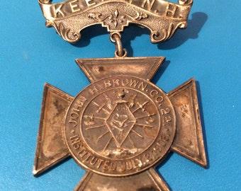 Vintage Keene New Hampshire Uniform Rank Knights of Pythias Whitehead Hoag Pin