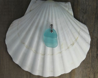 Ocean Blue Genuine Sea Glass Necklace Pendant with Silver Bail