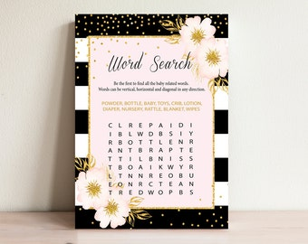 Word search game , Baby shower games, Gold & Pink, Baby word search, Baby shower activities, Word search cards , Shower word search, BP-01