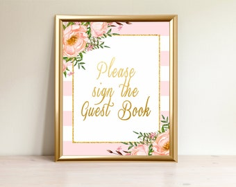 Guest book sign, Printable guest book sign, Baby shower, Please sign the guest book, Baby shower decor, Sign guest book, Bri Pink-3