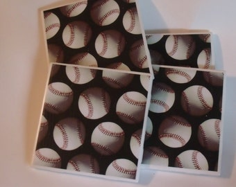 Baseball Ceramic Tile Coaster Set