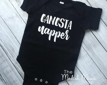 Gangsta Napper shirt, baby bodysuit, baby shirt, gender neutral shirt, monochrome shirt, baby shower gift, new baby gift, funny baby shirt