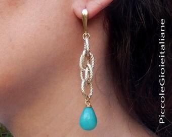 Modern earrings with Teardrop emerald green Agate. Earrings with chain. Handmade Earrings 925 Silver 24Kt gold plated hook..