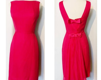 Hot Pink 60s Party Dress with Chiffon Train
