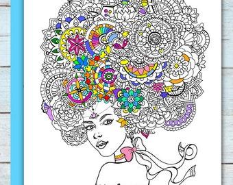 Printable Mandala Girl Coloring Page