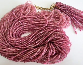 Excellent 913 Carats Pink TOURMALINE Facetted Beads BUNCH NECKLACE 925 Silver Hook