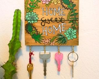 Home Sweet Home / Home Sweet Home Sign / Key Holder / Key Hook / Key Rack / Gift Women / Succulent Art / Succulent Favors / Jewelry Display