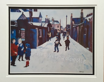 The Back Lane, Blyth, Northumberland, mounted print from an acrylic painting
