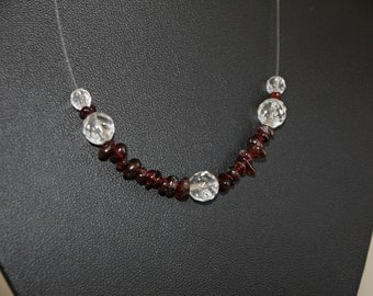 925 Silver, Garnet, Crystal Quartz, nylon necklace, bordeaux, transparent, floating, women necklace, gift