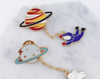 Astronaut pin, rabbit pin, fly me to space