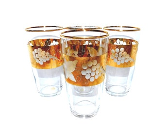 Vintage Crystal & Gold Gilded Tumblers/Wine Glasses - Set of 4 - Made in Western Germany