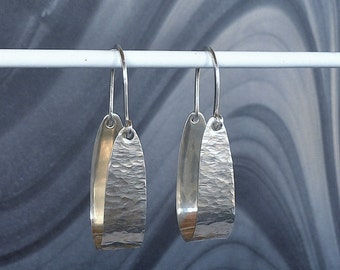 Sterling Silver Hoop Earrings Textured.