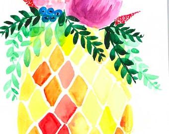 Floral Pineapple - Original 10x7