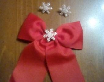 Christmas hair bow and earring set